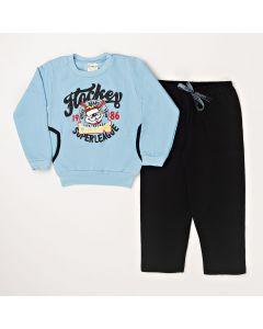 Conjunto Infantil Blusa Hockey Com Bolso Azul e Calça Em Moletom Preto