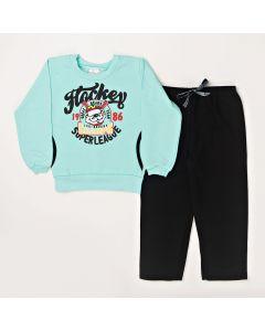 Conjunto Infantil Blusa Hockey Com Bolso Verde e Calça Em Moletom Preto