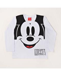 Camiseta Infantil Kamylus Mickey em Meia Malha Branca