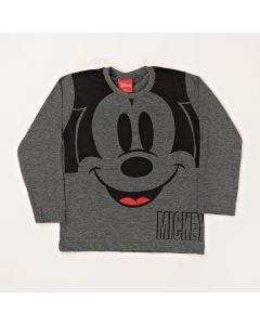 Camiseta Infantil Kamylus Mickey em Meia Malha Chumbo