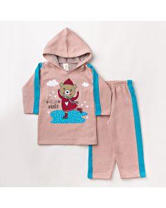 Conjunto Infantil Feminino em Moletom Blusa com Capuz e Calça Rosa