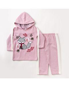 Conjunto de Roupa de Menina Inverno Blusa com Capuz e Calça Rosa