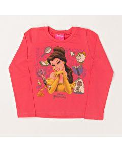 Blusa Infantil Kamylus Princesa Bela em Meia Malha Vermelha