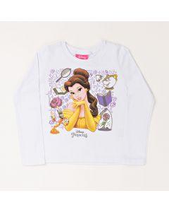 Blusa Infantil Kamylus Princesa Bela em Meia Malha Branca