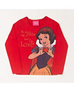 Blusa Infantil Kamylus Branca de Neve em Meia Malha Vermelha