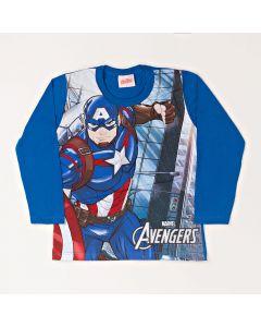 Camiseta Infantil Kamylus Capitão América em Meia Malha Azul