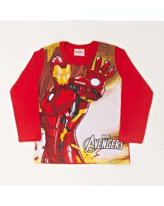 Camiseta Infantil Kamylus Homem de Ferro em Meia Malha Vermelha