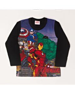 Camiseta Infantil Kamylus Os Vingadores em Meia Malha Preta