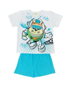 Pijama Infantil Space em Meia Malha Branca