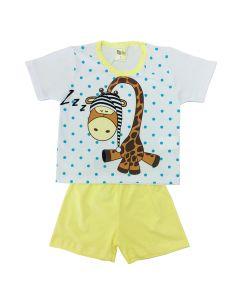 Pijama Infantil Giraffe em Meia Malha Branca