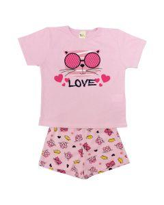 Pijama Infantil Love em Meia Malha Rosa