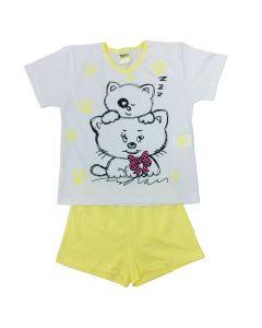 Pijama Infantil Gatinhos em Meia Malha Branca