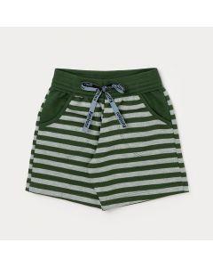 Bermuda Infantil Masculina Verde Listrada com Bolso