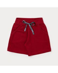 Bermuda Básica Masculina Infantil Vermelha com Bolso