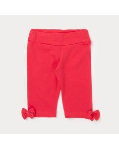 Legging Capri Infantil Vermelha com Lacinho e Elástico