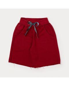 Bermuda Básica Infantil Masculina Vermelha com Bolso