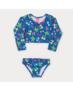 Biquíni Infantil Feminino Marinho Flamingo Manga Longa com Proteção UV