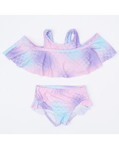 Biquíni para Menina com Estampa de Sereia Tie Dye