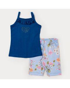 Conjunto Curto Menina Blusa de Alcinha Azul Coração e Short Ciclista Floral