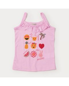 Blusa de Alcinha Rosa Infantil Feminina Estampada