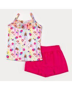 Conjunto de Verão Menina Blusa Alcinha Urso e Short Saia Pink Básico