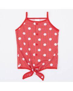 Blusa de Alcinha Infantil Feminina Vermelha com Bolinhas Brancas