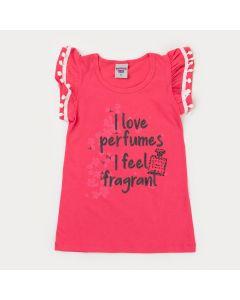 Blusa Pink Infantil Feminino Perfume com Pompom
