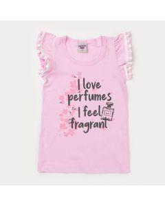 Blusa Rosa Infantil Feminina Perfume com Pompom