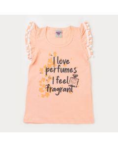 Blusa Salmão Infantil Feminina Perfume com Pompom