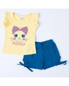 Conjunto de Verão Bebê Menina Blusa Amarela Gatinho e Short Azul