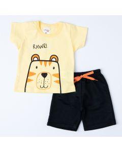 Conjunto de Verão Blusa Amarela Ursinho e Short Preto Bebê Menino