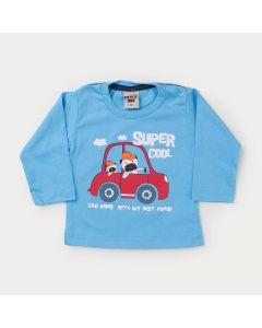 Blusa Azul Carro Manga Longa para Bebê Menino