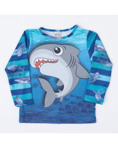 Blusa Azul com Proteção UV 50+ Infantil Masculina Tubarão