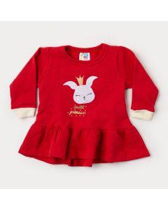 Blusa Bata para Bebê Menina Inverno em Moletom Vermelho Coelhinho