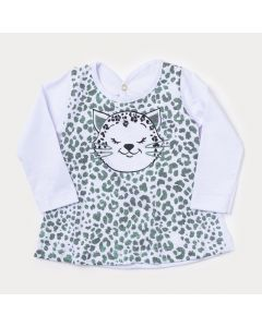 Blusa Branca Manga Longa Bebê Menina Oncinha