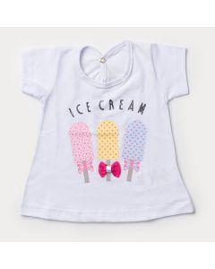 Blusa Branca para Bebê Menina Sorvete com Laço