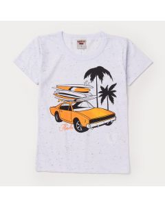 Blusa Branca Carro Infantil Masculina