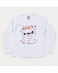 Blusa Branca Ursinho em Cotton Infantil Feminina