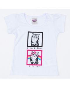 Blusa Branca Infantil Feminina Gatinho