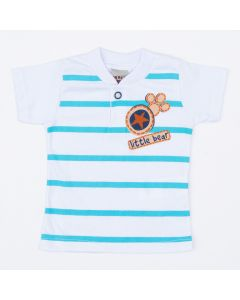 Camiseta Polo Branca com Listras para Bebê Menino