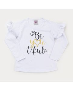 Blusa em Cotton Branca Infantil Feminina Estampada