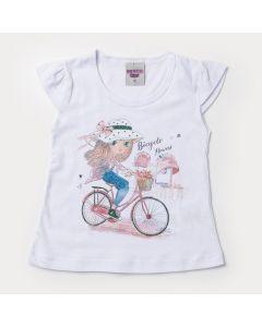 Blusa Branca para Menina com Estampa de Bicicleta