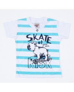 Camiseta Polo Branca Listrada Cachorrinho para Menino