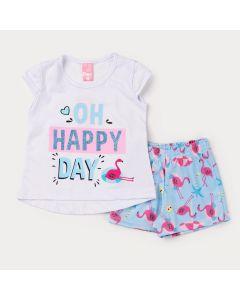 Conjunto para Menina Blusa Branca Estampada e Short Azul Flamingo