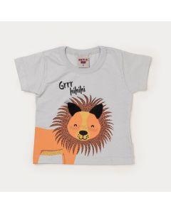 Camiseta Cinza para Bebê Menino Leãozinho
