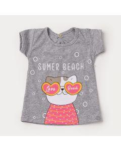 Blusa de Verão Cinza para Bebê Menina Cachorrinho