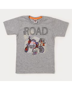 Camiseta Infantil Masculina Cinza Moto