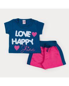Conjunto de Verão Menina Blusa Azul Estampada e Short Rosa
