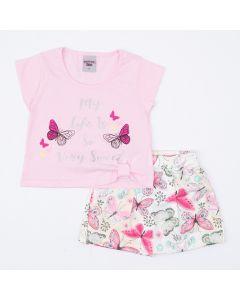 Conjunto Curto Infantil Feminino Blusa Rosa Estampada e Short Saia Borboleta