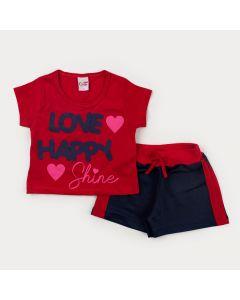 Conjunto Curto Menina blusa Cropped Vermelho Estampado e Short Marinho